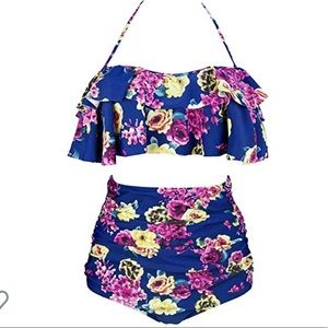 Blue and Floral 2 piece Vintage-style Swim Set